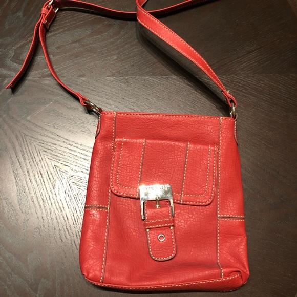 Nine West Handbags - Red Leather Nine West Messenger Bag